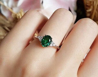 Oval emerald ring, three stone style promise ring, lab emerald engagement ring, white gold plated sterling silver, green gemstone ring