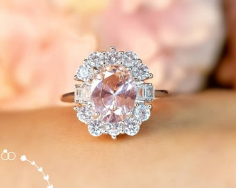 Art Deco Oval Morganite Engagement Ring, Princess Eugenie Engagement Ring, Blush Peachy Pink stone ring, Padparadscha Sapphire Color Gem