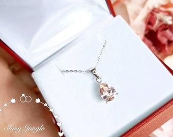 Teardrop Morganite necklace, 2 carats 7*9 mm Pear Cut Morganite Pendant, Blush Pink Morganite Solitaire Necklace, Morganite Bridal Necklace