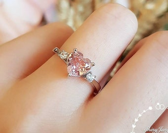 Morganite engagement ring, heart shaped Morganite solitaire ring, three stone ring, white/rose gold plated sterling silver, pink stone ring
