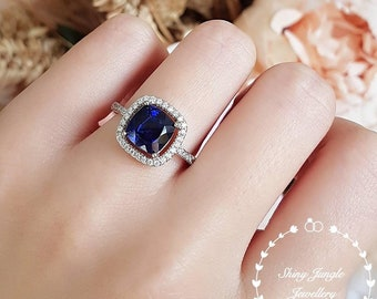 Cushion cut halo sapphire ring, Royal Blue lab sapphire engagement ring, white gold plated sterling silver, cushion ring, square ring