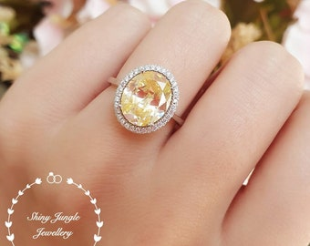 Statement Halo yellow diamond engagement ring, 5 carats fancy yellow diamond simulant ring, yellow stone ring, solitaire ring, promise ring