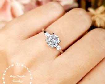 Diamond Engagement Ring, Classic Trilogy Diamond Ring, Round Brilliant cut 1.5 carat 7 mm Diamond Simulant Promise Ring, April Birthstone