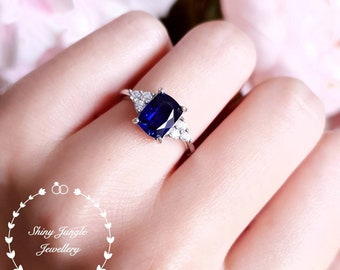 Royal Blue cushion cut sapphire engagement ring, three stone style lab created sapphire ring, white gold plated silver, September Birthstone