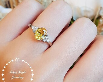 Oval three stone yellow diamond ring, yellow diamond simulant engagement ring, white gold plated sterling silver, yellow gem trilogy ring