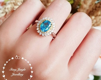 Double Halo Swiss blue topaz ring, 2 ct lab blue topaz engagement ring, white gold plated sterling silver, blue gemstone ring,statement ring