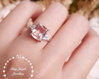 Cushion cut Morganite ring, Morganite engagement ring, three stone Morganite ring, white gold plated sterling silver, pink stone ring