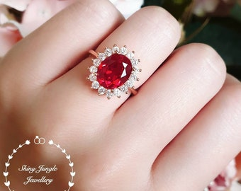 Rose gold ruby ring, Halo ruby engagement ring, 3 ct lab ruby, Royal design ring, engagement ring, red gemstone ring, cluster ring