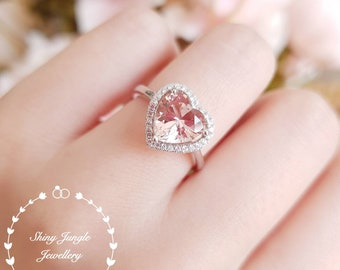 Heart shaped Halo Morganite ring, Morganite engagement ring, pink heart promise ring, white/rose gold plated sterling silver, pink gemstone