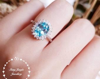 Royal Halo aquamarine ring, classic aquamarine ring, 3 carats oval lab aquamarine, Meghan Markle ring, Royal Wedding ring, Diana Ring