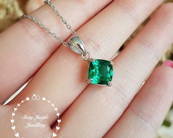 Emerald necklace, Emerald pendant, with chain, solitaire necklace, white gold plated sterling silver,cushion cut emerald, birthstone pendant