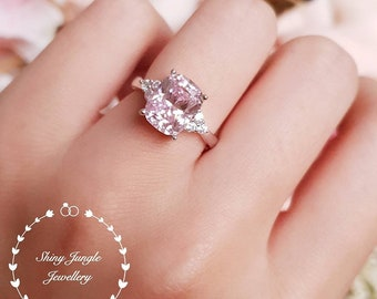 Pink diamond ring, 3 stone style engagement ring, 3 carats cushion cut fancy pink diamond simulant ring, pastel pink diamond solitaire ring