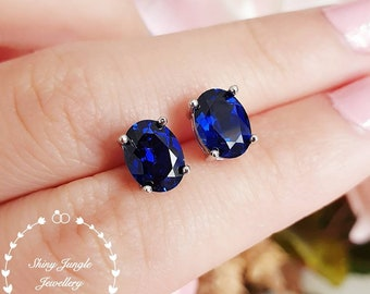 Royal Blue sapphire stud earrings, Oval cut lab sapphire earrings, bridal earrings, simple earrings, minimalist earrings, sterling silver