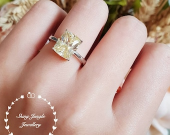 Yellow diamond ring, engagement ring, 3 carats cushion cut fancy yellow diamond ring, pastel yellow ring, yellow diamond solitaire ring