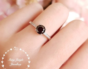 Dainty black spinal ring, 1 ct round black spinel ring, Goth ring, white gold plated sterling silver, black gemstone ring, solitaire ring