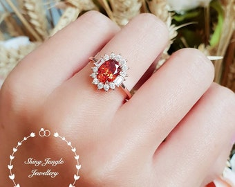 Halo Garnet ring, lab Vivid Orange Mandarin Spessartite, engagement ring, rose gold/white gold plated sterling silver, padparadscha colour