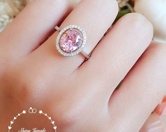 Halo pink diamond ring, 3 ct pink diamond simulant engagement ring, white gold plated sterling silver, pink stone ring, statement ring