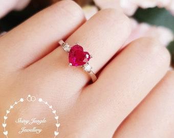 Heart shaped ruby ring, heart cut ruby engagement ring, red heart ring, heart cut ring, red stone ring, ruby ring, ruby engagement ring