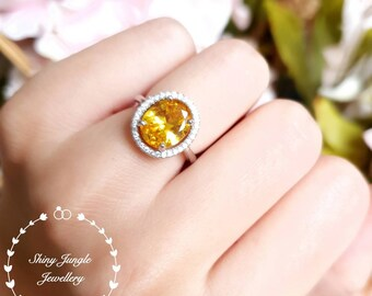 Halo yellow diamond ring, 3 ct yellow diamond simulant engagement ring, white gold plated sterling silver, yellow stone ring,statement ring