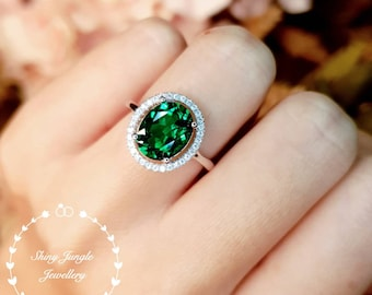 Modern Halo Oval Cut Emerald Engagement Ring, 3 carats 8*10 mm Muzo Green Emerald with Micro Pavé Halo, May Birthstone Promise Ring Gift