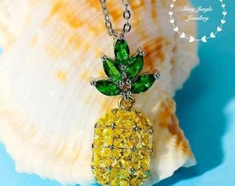 Inspirational pineapple pendant, Yellow Diamond Emerald simulant, gold plated sterling silver, Pineapple Jewelry, pendant