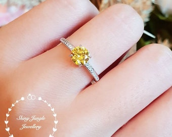 Round Yellow diamond engagement ring, delicate 1 carat fancy yellow diamond simulant ring, yellow stone ring, solitaire ring, promise ring