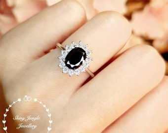 Halo Oval Cut Black Spinel Engagement Ring, 6*8 mm Faceted Black Spinel Promise Ring, Gothic Opaque Black Gemstone Ring, Princess Diana Ring