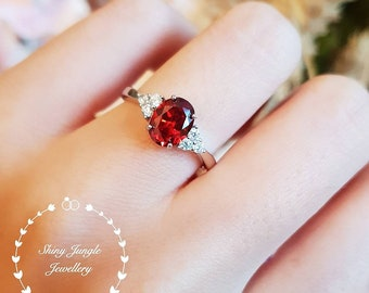 Oval Red Garnet ring, three stone style lab Garnet engagement ring, white gold plated sterling silver, January birthstone, promise ring