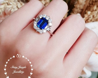 Art deco halo sapphire ring, sapphire engagement ring, Royal Blue lab sapphire, white gold plated silver, vintage sapphire ring,cluster ring