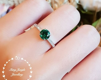 Delicate emerald ring, round emerald engagement ring, emerald promise ring, white gold plated sterling silver, dainty green gemstone ring