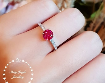Delicate ruby ring, July Birthstone, Ruby engagement promise ring, white gold plated sterling silver, red gemstone ring,dainty everyday ring