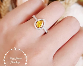 Pear shape yellow diamond ring, Halo yellow diamond ring, yellow diamond engagement ring, yellow diamond ring, teardrop ring, pear cut ring