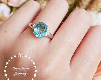 Paraiba tourmaline ring, 3 carats green tourmaline ring, solitaire ring, white gold plated sterling silver, oval cut lab stone, teal stone