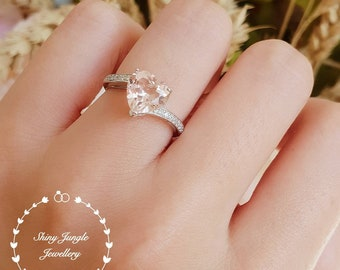 Heart shaped Morganite ring, morganite engagement ring, solitaire ring, heart cut ring, white gold plated sterling silver, pink stone ring