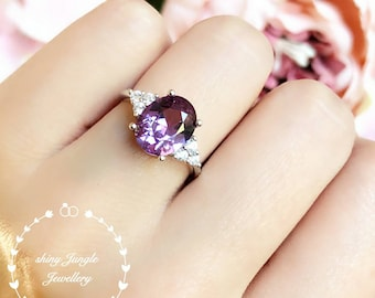 Oval 3 carat Alexandrite engagement ring, three stone style June Birthstone promise ring, colour changing gemstone ring,lab Alexandrite ring