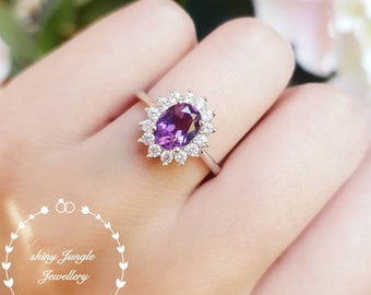 Natural oval Amethyst ring with royal halo design, white/rose gold plated silver, purple quartz stone promise ring, February birthstone gift
