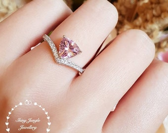 Trilliant cut pink diamond ring, tiara ring, pink diamond engagement ring, pink engagement ring, triangle ring,white gold plated silver