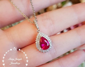 Ruby pendant, pear shaped ruby necklace, July birthstone pendant, double halo ruby pendant, teardrop ruby pendant, royal cluster design