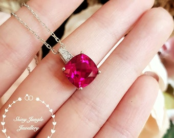 Pigeons blood Ruby necklace, July birthstone pendant, cushion cut ruby, white gold plated sterling silver with chain, lab stone