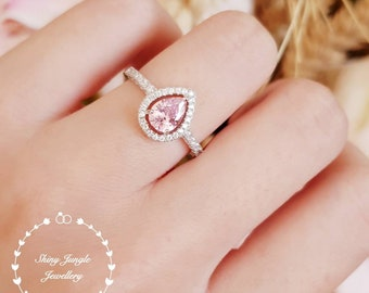 Pear shape pink diamond ring, Halo pink diamond ring, pink diamond engagement ring, pink engagement ring, teardrop ring, pear cut ring