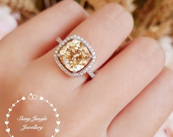 Halo Yellow diamond ring, engagement ring, 3 carats cushion cut fancy yellow diamond ring, pastel yellow ring, yellow diamond solitaire ring