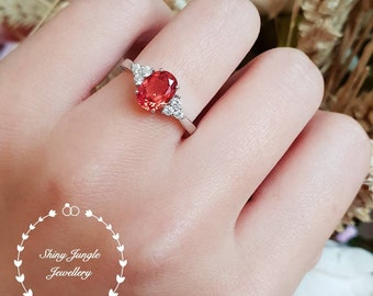 Oval Mandarin Garnet ring, lab Vivid Orange Mandarin Spessartite, engagement ring, white gold plated sterling silver, three stone ring