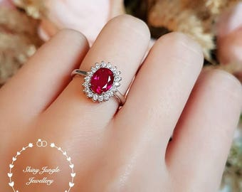 Halo ruby ring, 2 ct lab ruby, pigeon's blood, engagement ring, white gold plated sterling silver, red gemstone ring, cluster ring