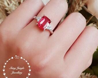 Mandarin Garnet ring, lab Vivid Orange Mandarin Spessartite, Emerald cut engagement ring, white gold plated sterling silver,three stone ring