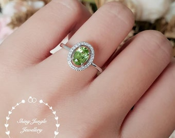 Natural oval Peridot ring, peridot halo engagement ring, green gemstone promise ring, white gold plated sterling silver, August Birthstone