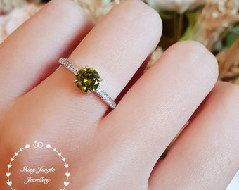 Dainty peridot ring, 1 ct peridot solitaire ring, August Birthstone ring, white gold plated sterling silver, olive green gemstone ring