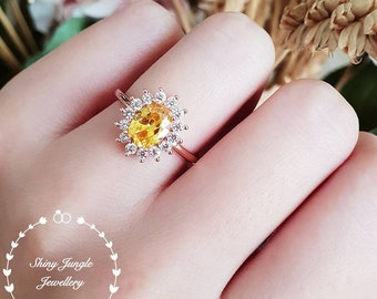 Halo yellow diamond ring, 2 ct yellow diamond simulant engagement ring, white/rose gold plated sterling silver, yellow stone statement ring