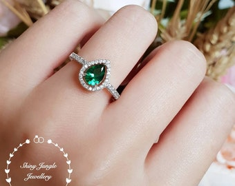 Pear cut emerald halo ring, engagement ring, lab emerald ring, white gold plated sterling silver, tear drop emerald, pear shape emerald ring