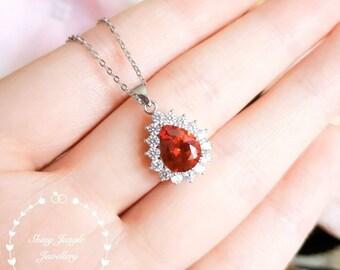 Halo Pear shaped Garnet necklace, January birthstone pendant, pear cut lab Garnet pendant, teardrop orangy red garnet gemstone pendant