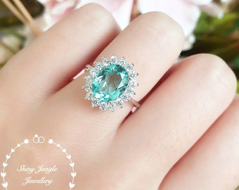 Paraiba tourmaline ring, 3 carats green tourmaline ring, halo Paraiba tourmaline ring, white gold plated sterling silver, oval cut teal ring